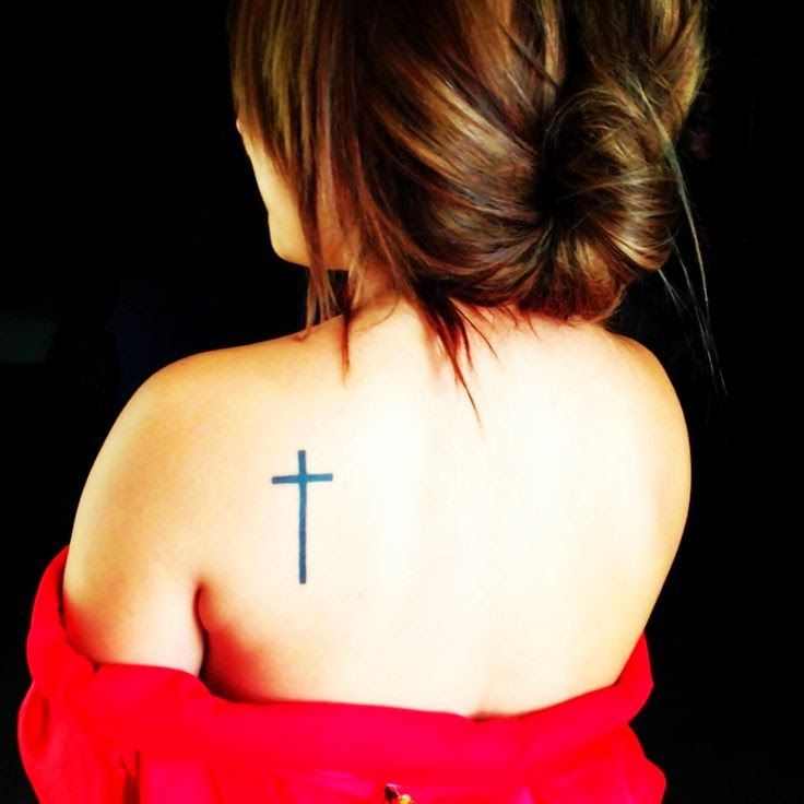 Cross Shoulder Blade Designer Tattoo
