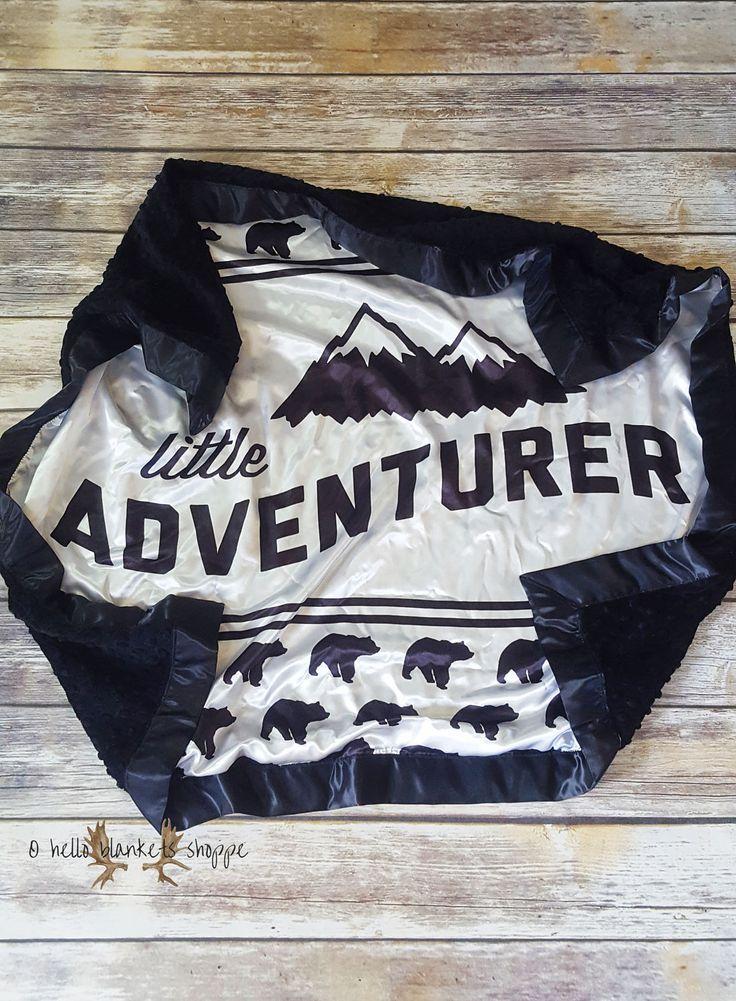 Satin Minky Blanket- Little Adventurer Blanket- Baby Boy Blanket- Rustic Blanket- Baby Blanket by OHelloBlanketsShoppe on Etsy