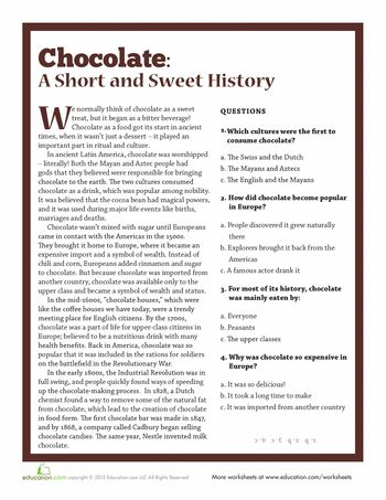 Worksheets 4th Grade Reading Comprehension Worksheets Students 1000 ideas about comprehension worksheets on pinterest reading the history of chocolate