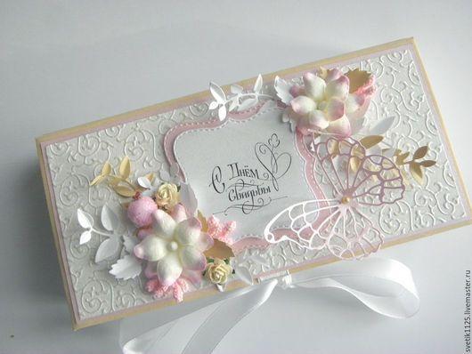 """Свадебные открытки ручной работы. Ярмарка Мастеров - ручная работа. Купить Свадебная  коробочка """"Розовая ваниль """". Handmade. Комбинированный"""
