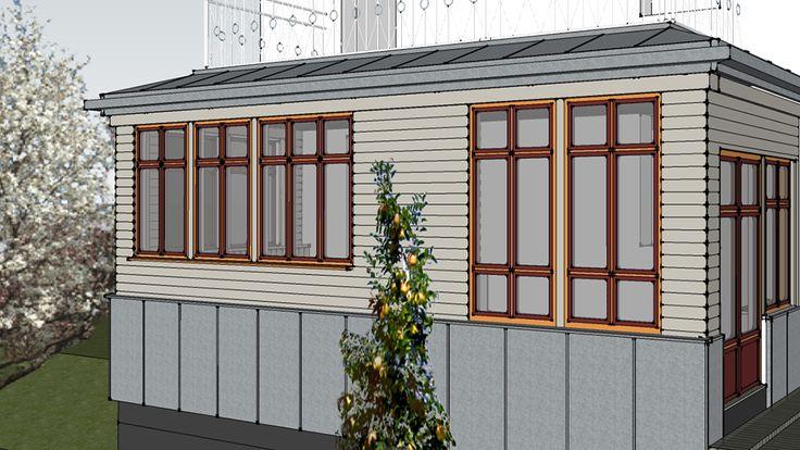 Glasverandan - en tillbyggnad vid Söderåsen med fönster i guldocker och engelskt…