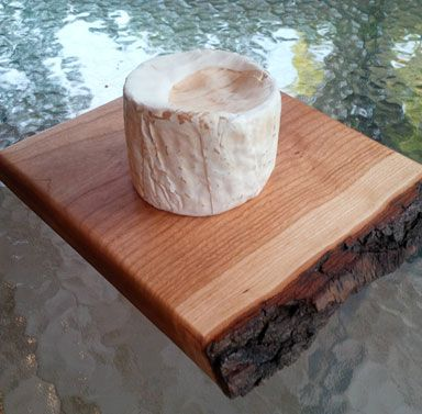 """Cherry cheese board, live edge with bark, 9.5"""" x 7.5"""" x 1"""", priced at $30.  Perfect for a piece of triple cream brie!"""