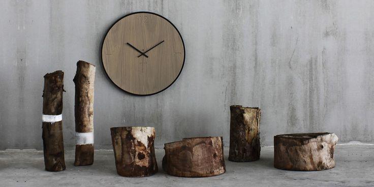 Wall clock natural oak grey | xline
