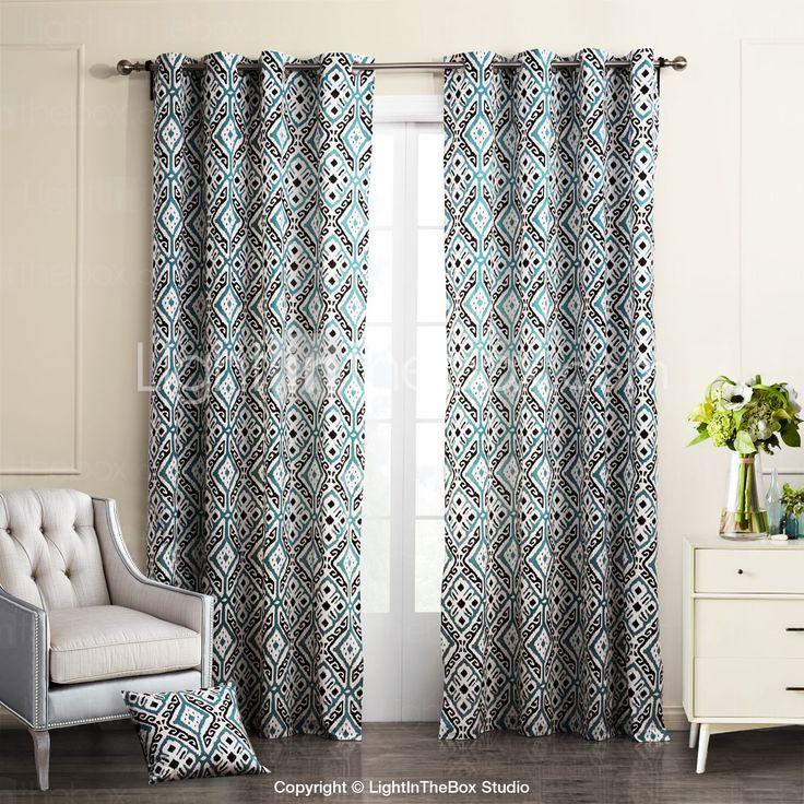 deux panneaux moderne g om trique bleu chambre coucher coton panneau rideaux rideaux panneau. Black Bedroom Furniture Sets. Home Design Ideas