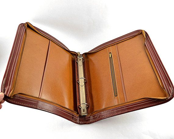 Vintage Leather Binder Folder Notebook With Zipper Leather Binder Vintage Leather Leather 3 Ring Binder