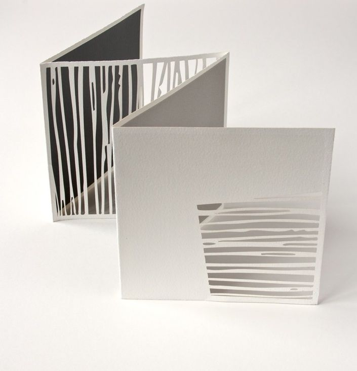 paper art landscape stripes untitled - square (2006)       laser cut and screen printed artist book  page size 16 x 16  cm       Tate Gallery Collection by Jenny Smith