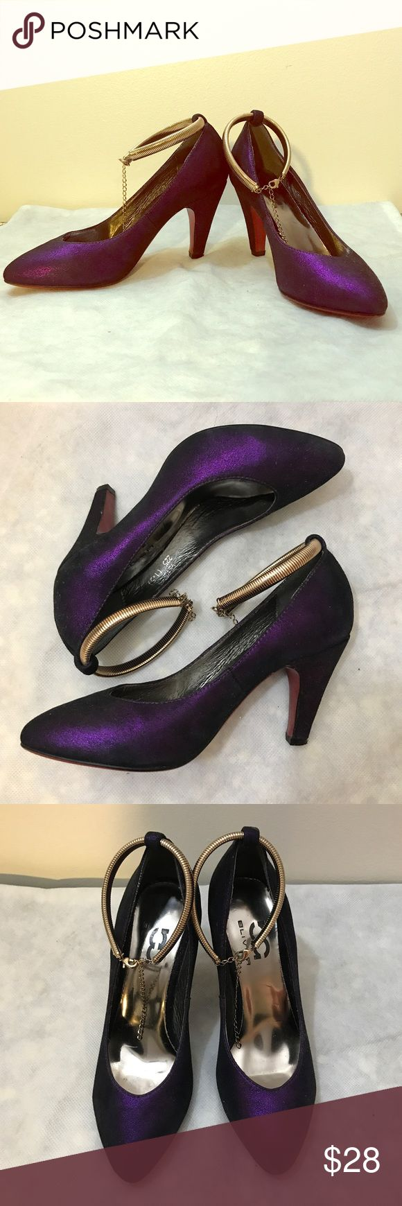 """Metallic purple heels with red sole & metal strap Striking Metallic purple heels with red soles(!) and golden metal ankle straps. Fabric uppers with mystic metallic purple colors. Amazing rose gold ankle snake chain ankle straps with adjustable length. And beautiful red soles. 3.5"""" heels and very comfortable. Never worn. In great condition. Flawless uppers. Slight scuff on soles due to try-on. Bliver Shoes Heels"""