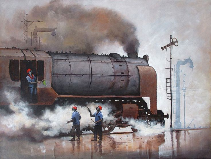 Indian Steam Locomotives 06 Painting, Acrylic on canvas art by Kishorepratim Biswas. Buy Indian Art online at BestCollegeArt.com