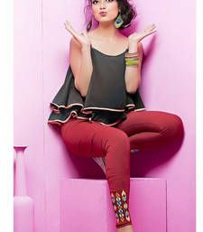 Buy Maroon Color Embroidered Leggings other-apparel online