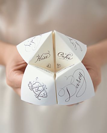 """Paper Fortune Teller for guests, it could be """"Fortune for how your night will go"""" and options could be like """"passed out in the fountain"""" or """"you will tell the best joke of the night"""" or """"your dance solo will impress everyone around you"""""""