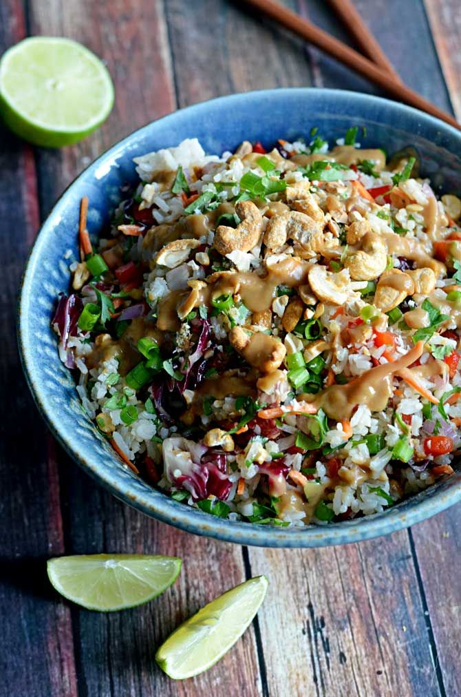 Thai Cashew Coconut Rice with Ginger Peanut Dressing. (Substitute coconut sugar or maple for the honey)