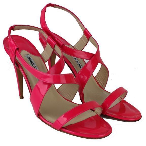 Manolo Blahnik Hot Pink Strappy Heels #manoloblahniksandals