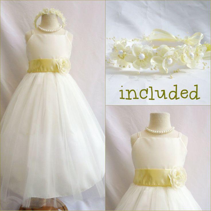 Beautiful Ivory/Canary Light Yellow Flower Girl Dress Free Headpiece All Sizes