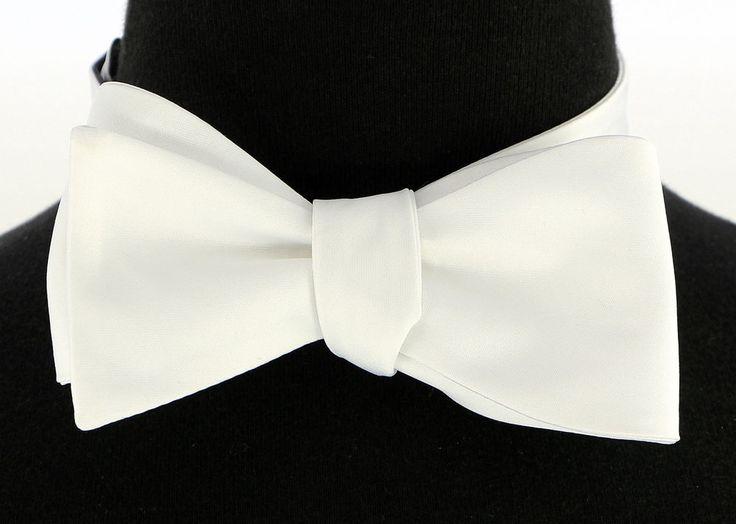Mens Microfiber Self Loop Bow Tie Wedding Prom Fashion White Dress Bowtie New…