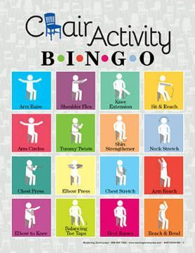 Chair Activity Bingo I like this activity because it is a different form of bingo that implements chair workouts while still playing the bingo game. This would be great for people with Alzheimer's to mirror you. #RecTherapy