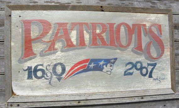 New England Patriots Sign wooden hand made original wall