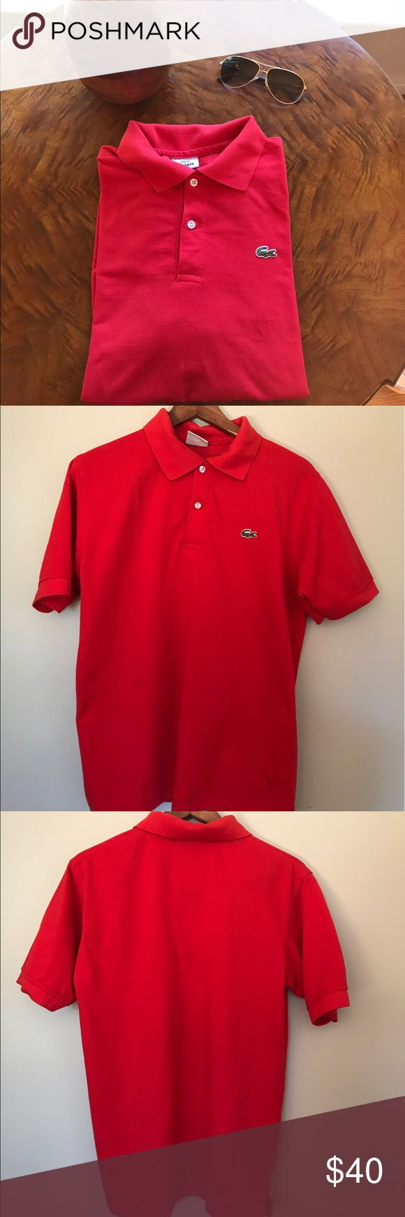 Lacoste Men's Polo Red size Large 5 Short Sleeve Short sleeve bright red men's lacoste polo Size 5 or large Lacoste Shirts Polos