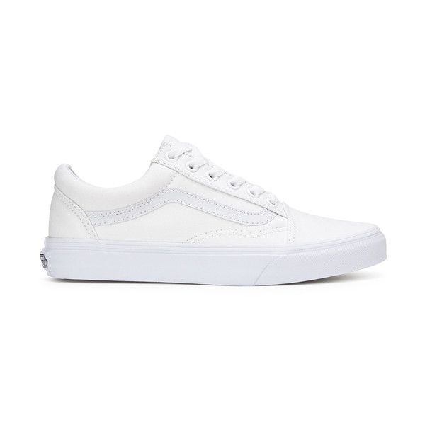 Vans Unisex Old Skool Canvas Trainers (956.325 IDR) ❤ liked on Polyvore featuring shoes, sneakers, white, lace up sneakers, white shoes, leather skate shoes, vans sneakers and leather shoes