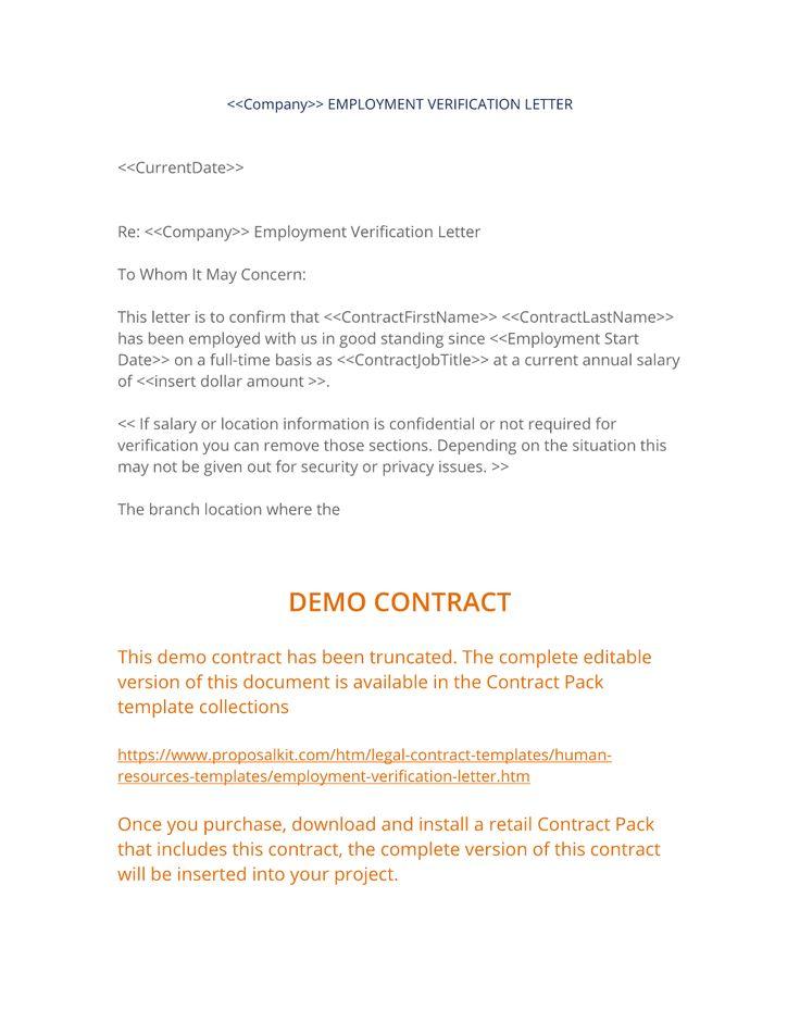Employment Verification Letter - The Employment Verification Letter