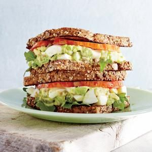 Avocado-Egg Salad Sandwiches with Pickled Celery | CookingLight.com #myplate #protein veggies #wholegrain