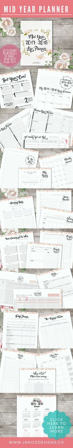 Can you believe that half of 2017 is almost gone? This is a great planner for those who haven't yet sat down and plan for the rest of the year and the following year ahead. The Mid 2017-2018 Life Planner will do wonders and bring clarity to your goals, projects, schedule and life! Goal setting, printables planner, achieve more, be more productive, organize your life