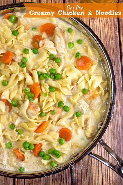 Creamy Chicken with Noodles Dinner; a delicious stovetop casserole recipe | bakeatmidnite.com