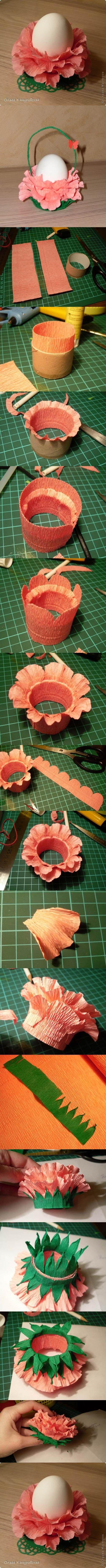 DIY Crepe Paper Flower Easter Egg Stand