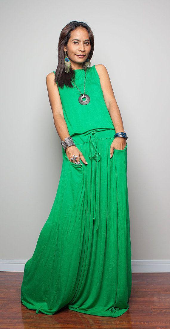 Maxi - vestido sin mangas verdes: otoño emociones colección No.9 (Nueva llegada)