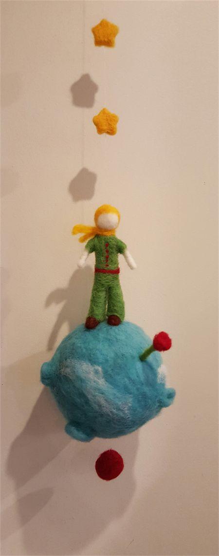Little Prince Mobile - 100% handmade - Needle felting