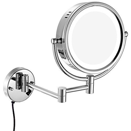 Gurun 8 5 Inch Magnifying Mirror With Led Light 10x Magnification Brushed Nickel Finish M1809 Wall Mounted Makeup Mirror Makeup Mirrors Mirror With Led Lights