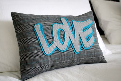 INSPIRATION - felt words appliqued on store bought or homemade pillow covers