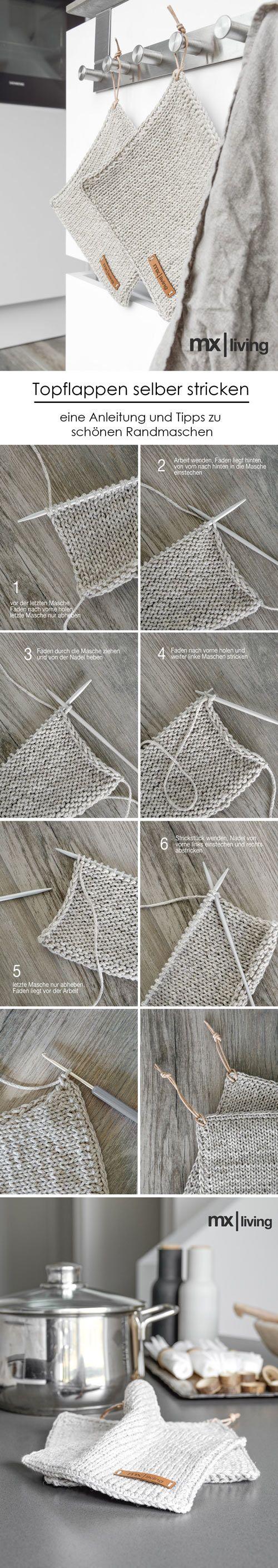 meine gestrickten Topflappen mit dem Lederlabel jetzt als einfache Schritt für Schritt Anleitung auf dem Blog! #Topflappen #DIY #Lederlabel #selbermachen