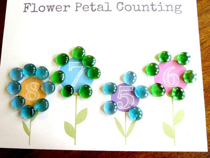 plant theme preschool math flower petal counting free printable print math. Black Bedroom Furniture Sets. Home Design Ideas