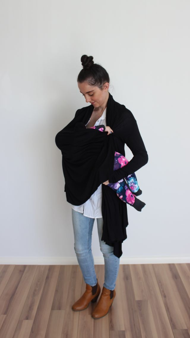 The Black long sleeve Breastfeeding Cardigan.