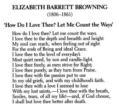 how do i love thee? by elizabeth barrett browning essay This essay shall be devoted to the understanding and comparison of elizabeth barrett-browning's poem, 'how do i love thee ' and the influential work of christina rossetti's, 'remember' each boasting passionate lives, their work is somewhat reflected in their past.