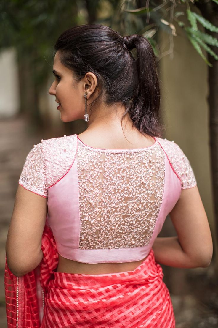 House Of Blouse Pink embroidered net blouse