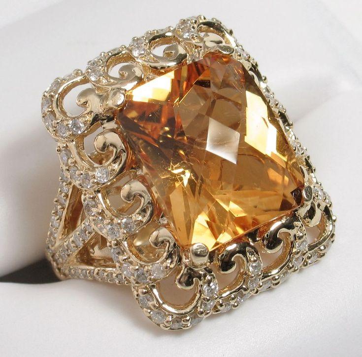 Vintage Citrine & Diamond Cocktail Ring, #cocktaliring, #rings, #diamonds