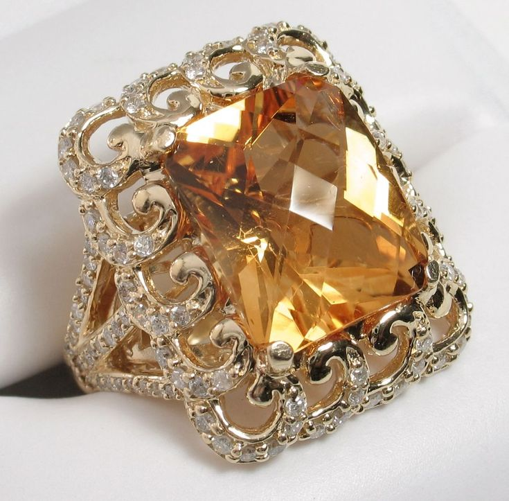 Superlative Huge Vintage Citrine & Diamond Cocktail Ring from divinefind on Ruby Lane