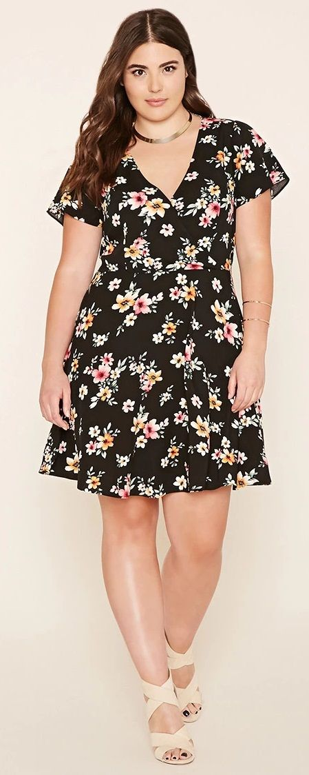 Plus Size Floral Surplice Dress