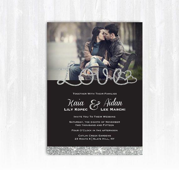 Silber Glitter-Hochzeitseinladung mit Foto DIY druckbare digitale Datei oder Print (Extra) Sparkle Einladung Foto Hochzeit…