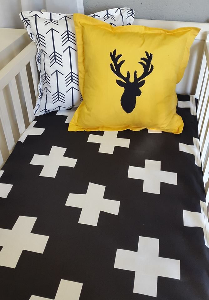 If you've got a #Black and #Yellow nursery, our #WoodlandTheme set is perfect for you - great for both a #BabyBoy or a #BabyGirl!   #BabyBedding #BabyLinen