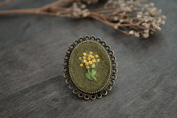 Hand Embroidered Flower Brooch by TheBlueRabbitHouse