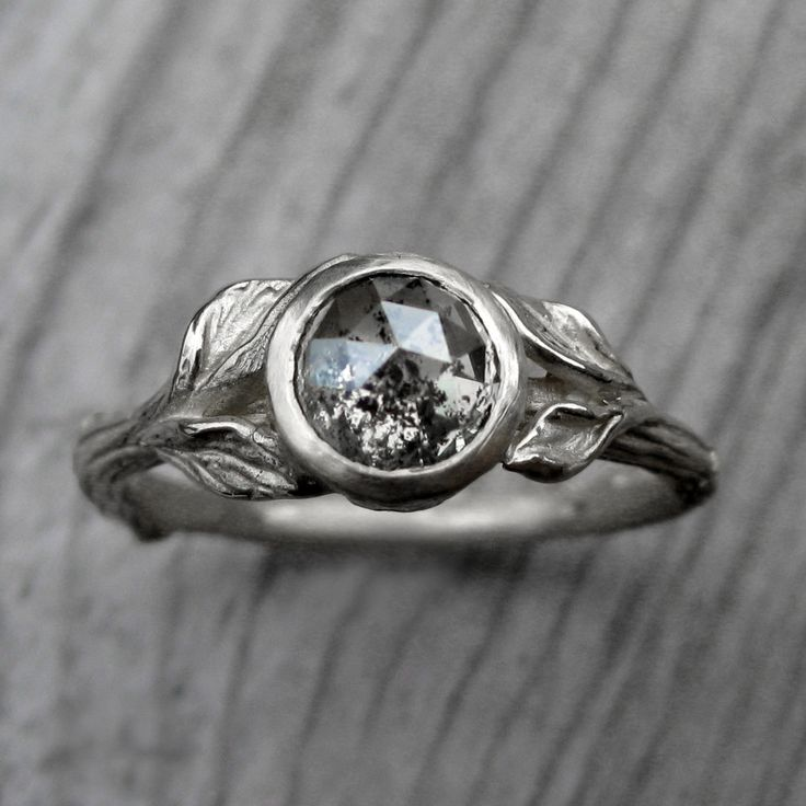 Custom Rose Cut Diamond Twig & Leaf Engagement Ring. Choice of white, yellow, or rose gold. By Kristin Coffin Jewelry