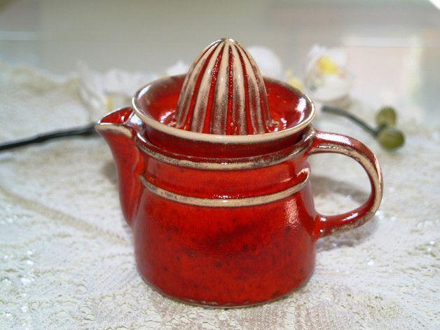 Weiteres - Zitronenpresse Zitruspresse Keramik rot Mohn - ein Designerstück von BendelArt bei DaWanda