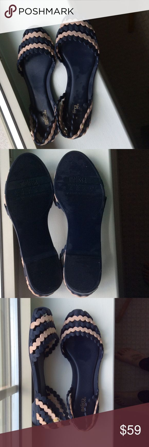 Melissa flats Gorgeous Melissa navy and baby pink flats like new wore them twice Melissa Shoes Flats & Loafers