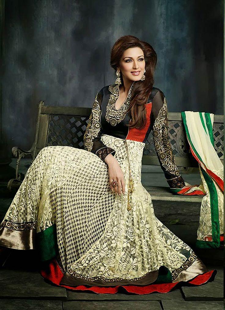 Cream #SonaliBendre Brasso And Net #Anarkali Suit