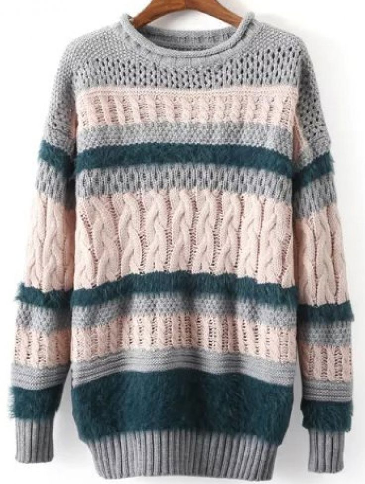Multicolor Hollow Cable Knit Loose Sweater -SheIn(abaday)
