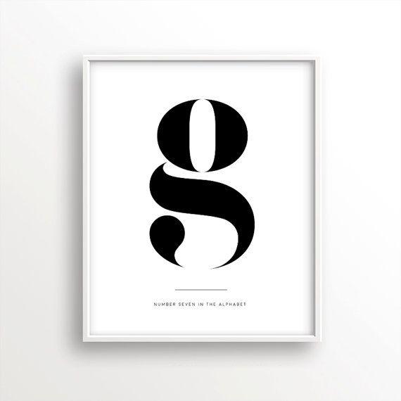 Letter G print affiche scandinave by ScandinavianPrintArt on Etsy