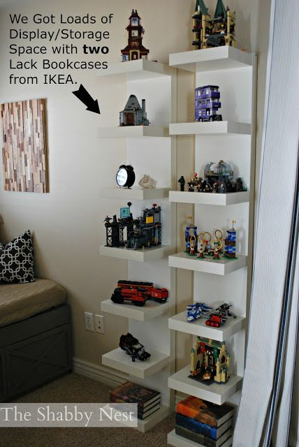 two LACK bookcases from IKEA to organize/display items in child's bedroom. The Shabby Nest: Loft Bedroom Reveal~
