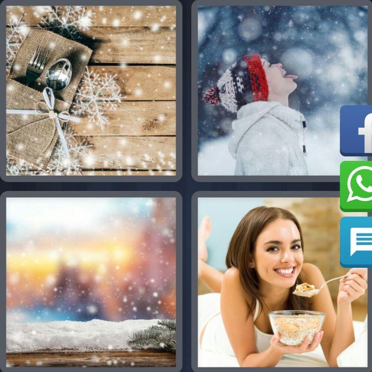 4 Fotos 1 Palabra Nieve Mujer Comiendo Ventana Cubiertos Cuchara Tenedor - Enigma Diario Navidad 4 Letras